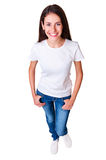 Top view of young smiley woman Stock Photos
