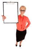 Top view of young woman holding blank white board Royalty Free Stock Photo