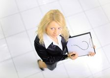Top view of young woman with a represent folder Stock Photo