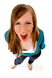 Top view of young woman shouting Royalty Free Stock Photography