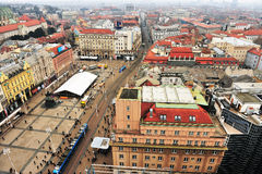Top view of Zagreb downtown, Croatia Royalty Free Stock Photography