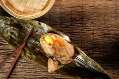 Zongzi or Traditional Chinese Sticky Rice Dumplings. Royalty Free Stock Photography
