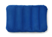 Top viewe of blue inflatable pillow. Isolated on white Stock Image