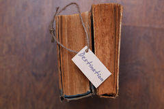 Top Viewed vintage book with a sign - Destination Royalty Free Stock Photos