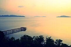 Free Top Viewpoint Of Long Wooden Bridge At Andaman Sea,Kawthaung,Southern Myanmar Stock Images - 192188044