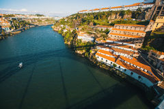 Top views of Douro river and coast Villa Gaia de Nova from the Dom Luis I iron Bridge, Porto Stock Photos