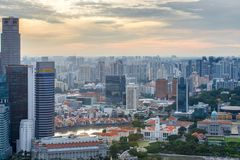 Top views skyline business building and financial district in sunset time at Singapore City. Singapore Royalty Free Stock Photos