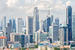 Top views skyline business building and financial district in sunshine day at Singapore City. Singapore Stock Photos