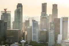 Top views skyline business building and financial district in sunshine day. At Singapore City Stock Photos