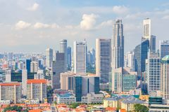 Top views skyline business building and financial district in sunshine day at Singapore City. Singapore Royalty Free Stock Photography