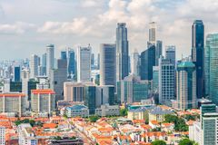 Top views skyline business building and financial district  in sunshine day at Singapore City. Singapore Stock Photo