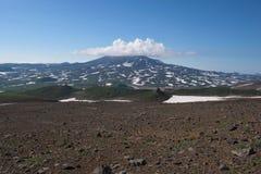 Top of Vilyuchinskaya volcano hidden in the clouds, viewed from Gorely Volcano stock photo