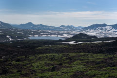 Top of Vilyuchinskaya volcano and mountain lake from Gorely Volcano. Kamchatka, Russia royalty free stock images