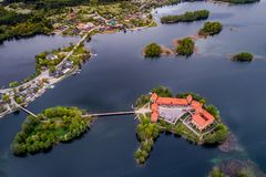 Top visited Lithuanian places, Trakai, aerial photo. Lake in Trakai and its castle, aerial. Top visited Lithuanian places royalty free stock photos