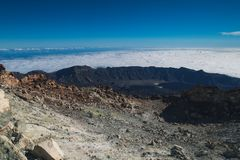 On top of a volcano. Teide. Volcano on Tenerife. Spain. The mountains. royalty free stock image