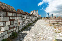 The top of the wall of the Yedikule Fortress in Istanbul, Turkey Royalty Free Stock Photo