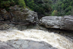 The top of a waterfall after a heavy rain. Cold water cascading down a mountain in virginia Stock Photography
