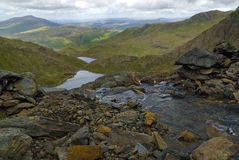 Top of Waterfall in Snowdonia Stock Image