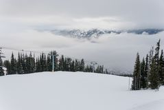 Snow covered trees on mountain top Royalty Free Stock Images