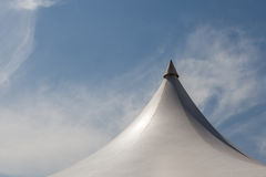 Top of white canvas tent under blue sky background Royalty Free Stock Photography