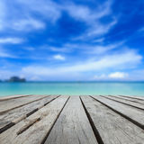 Top of wood table and view of sea and blue sky Royalty Free Stock Photos