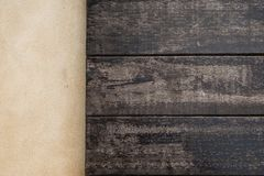 Top wooden and cement floor. wood texture for background.  Royalty Free Stock Photo
