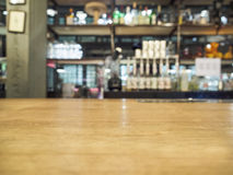 Top of wooden counter with Bar Blurred Background Royalty Free Stock Image
