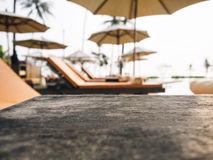 Top of wooden table with Beach chair, Summer holiday Background Stock Photos
