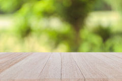 Top wooden table on blur and bokeh background Stock Photos