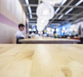 Top of Wooden table cafe Blurred background Royalty Free Stock Photos