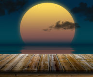 Top of wooden table at sunset Royalty Free Stock Photo