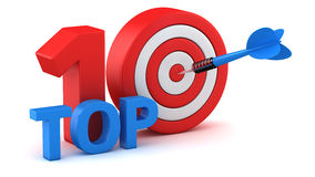 Top 10. Word Top 10 with dartboard on white background Stock Images