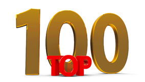Top 100. Word,  on white background, three-dimensional rendering Royalty Free Stock Images