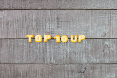 Top 10 wording. By a b c biscuit Royalty Free Stock Photo