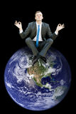 Top of the world. Business man royalty free stock photo
