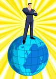 On Top Of The World. Illustration of a businessman standing on top of the world vector illustration
