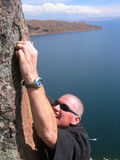 On Top of the World. Rock Climbing at Lake Titicaca royalty free stock image