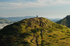 On top of the world - climbers on Twin Peaks Royalty Free Stock Photo