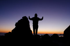 On top of the world. Feeling empowered by the view from the top of the rocks Stock Photography