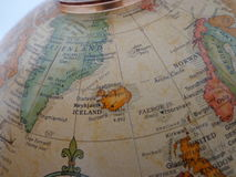 Top of the World. Globe showing the islands of Greenland and Iceland in the Atlantic Ocean Stock Image