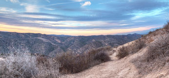 Top of the World hiking trail. In the wilderness of Laguna Beach, California at sunset royalty free stock photo