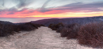 Top of the World hiking trail. In the wilderness of Laguna Beach, California at sunset stock image