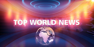 Top World News Text and Earth Globe in Empty 3D Studio Space Con. Top World News Text and Earth Globe in Empty 3D Studio Space, 3d Illustration Royalty Free Stock Image