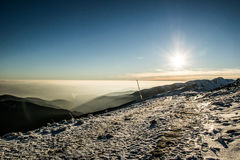 Top of the world. Sunset at Slovakia mountain Chopok Stock Photo