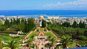 The top of world. Trees forest cuty haifa religion religious bahai haifa israel temple magical special beautiful sea ocean water stairs Royalty Free Stock Photography