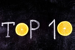 Top 10. Written in chalk. Stock Photography