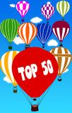TOP 50 written on hot air balloon with a blue sky background. Illustration Vector Illustration