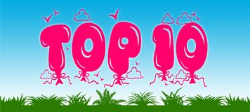 TOP 10 written with pink balloons on blue sky and green grass background. Royalty Free Stock Photography
