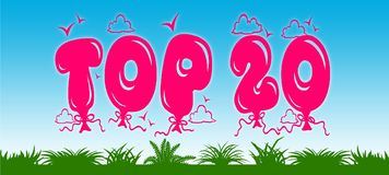 TOP 20 written with pink balloons on blue sky and green grass background. Stock Image
