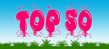 TOP 50 written with pink balloons on blue sky and green grass background. Royalty Free Stock Images